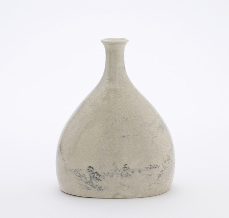 Sake bottle with landscape decoration