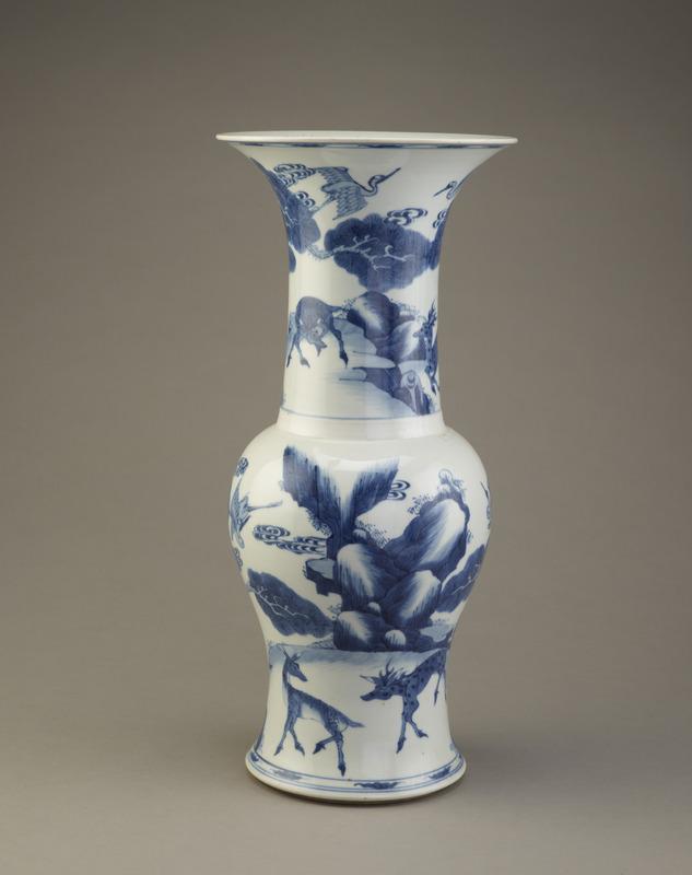 Vase with design of deer in a landscape