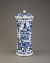 Beaker-shaped jar with lid