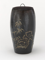 Tea ceremony narrow water jar, with black lacquer lid