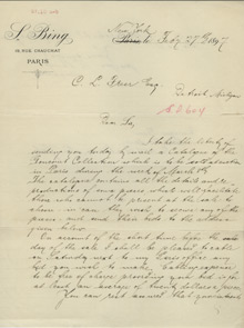 Sigfried Bing to Charles Lang Freer, February 27, 1897