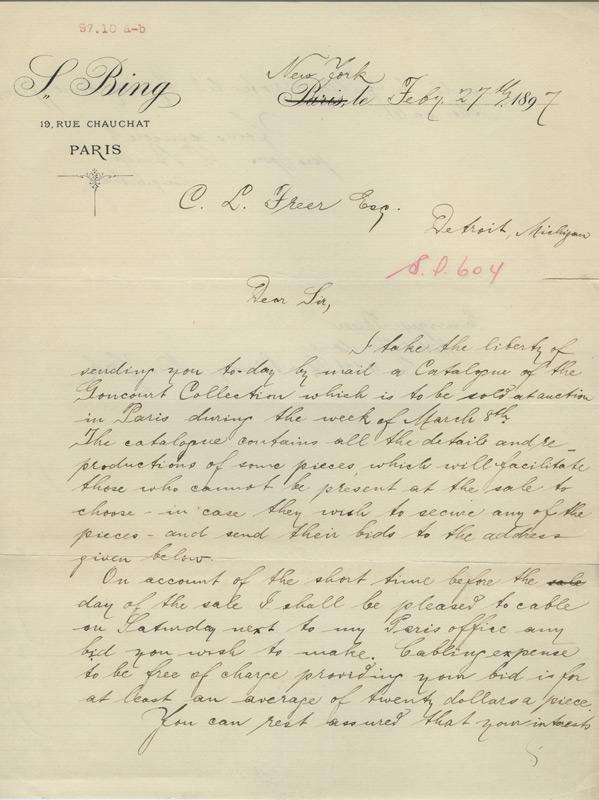 Sigfried Bing to Charles Lang Freer, February 27, 1897