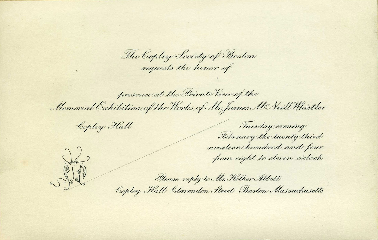Invitation to Copley Society of Boston, Memorial Exhibition of the Works of James McNeill Whistler, March 20, 1904