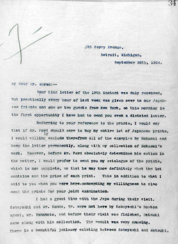 Charles Lang Freer to Charles Morse, September 26, 1904