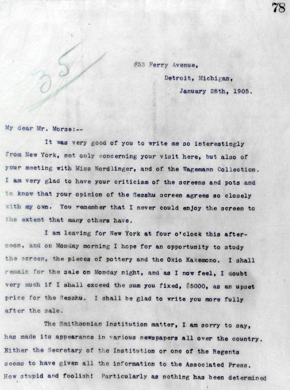 Charles Lang Freer to Charles Morse January 28, 1905