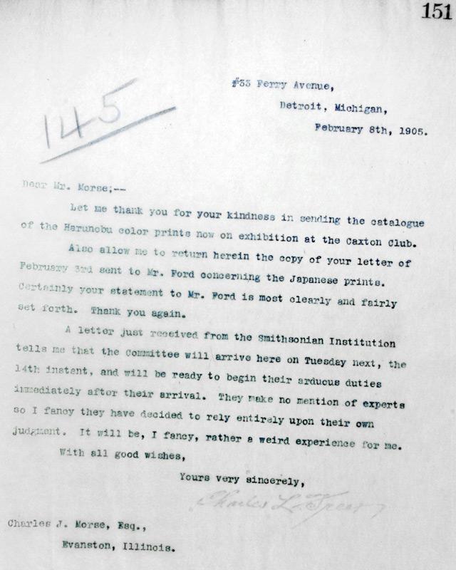 Charles Lang Freer to Charles Morse February 8, 1905