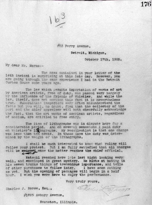 Charles Lang Freer to Charles Morse, October 17, 1905