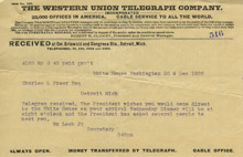 Telegram from President Roosevelt inviting Charles Lang Freer to the White House, December 9, 1905