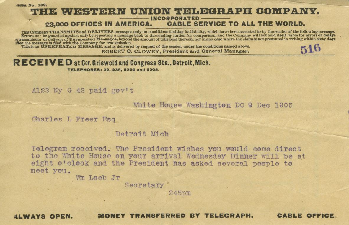 Telegram from President Roosevelt inviting Charles Lang Freer to the White House, December 9, 1905