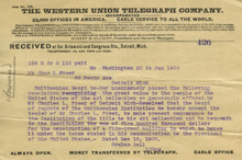 Telegram, Alexander Graham Bell to Charles Lang Freer, January 24, 1906