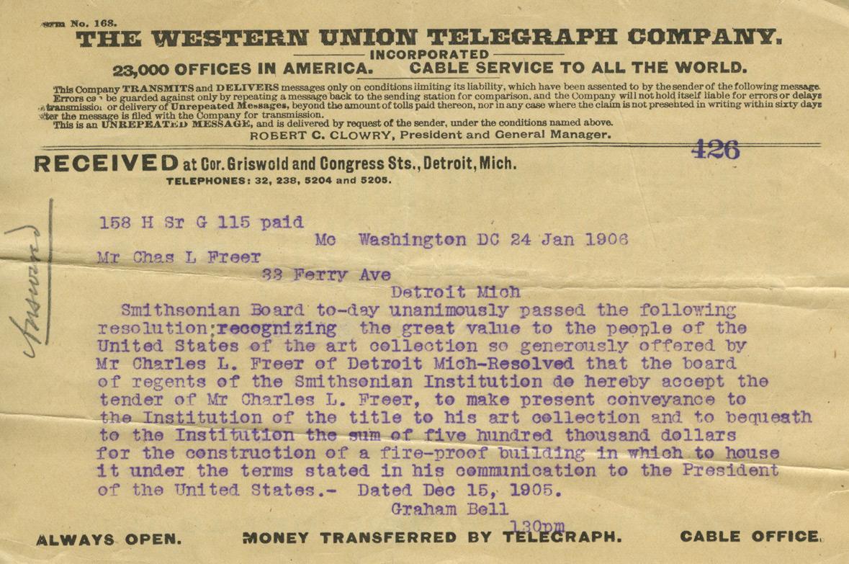 Telegram, Alexander Graham Bell to Charles Lang Freer, January 24, 1906