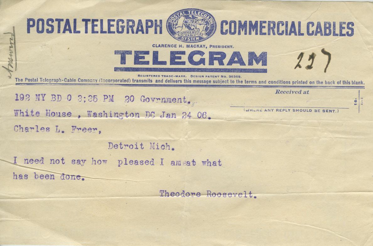 Telegram from President Roosevelt to Charles Lang Freer, January 24, 1906