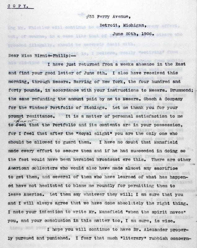 Charles Lang Freer to Rosalind Birnie Philip, June 20, 1906