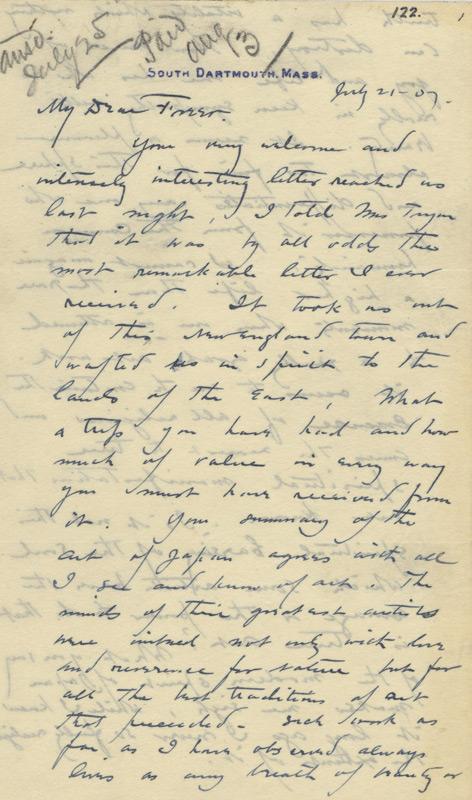 Dwight Tryon to Charles Lang Freer, July 21, 1907
