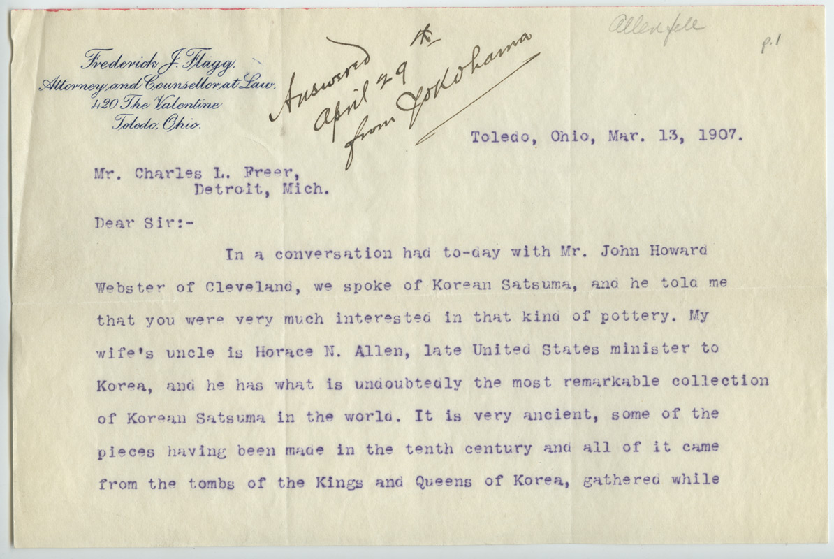Frederick J. Flagg to Charles Lang Freer, March 13, 1907