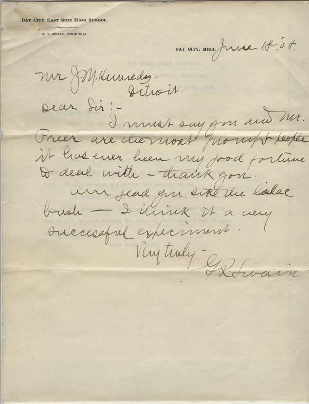 George Swain to JM Kennedy, June 18, 1908