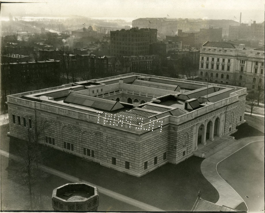 An aerial view of the Freer Gallery of Art c. 1923