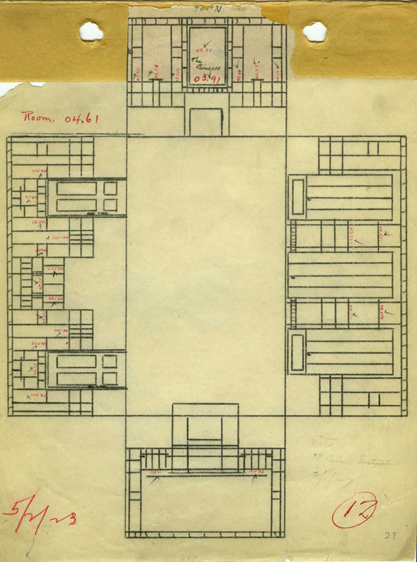 The layout of the Peacock Room on May 2, 1923 in the Freer Gallery of Art