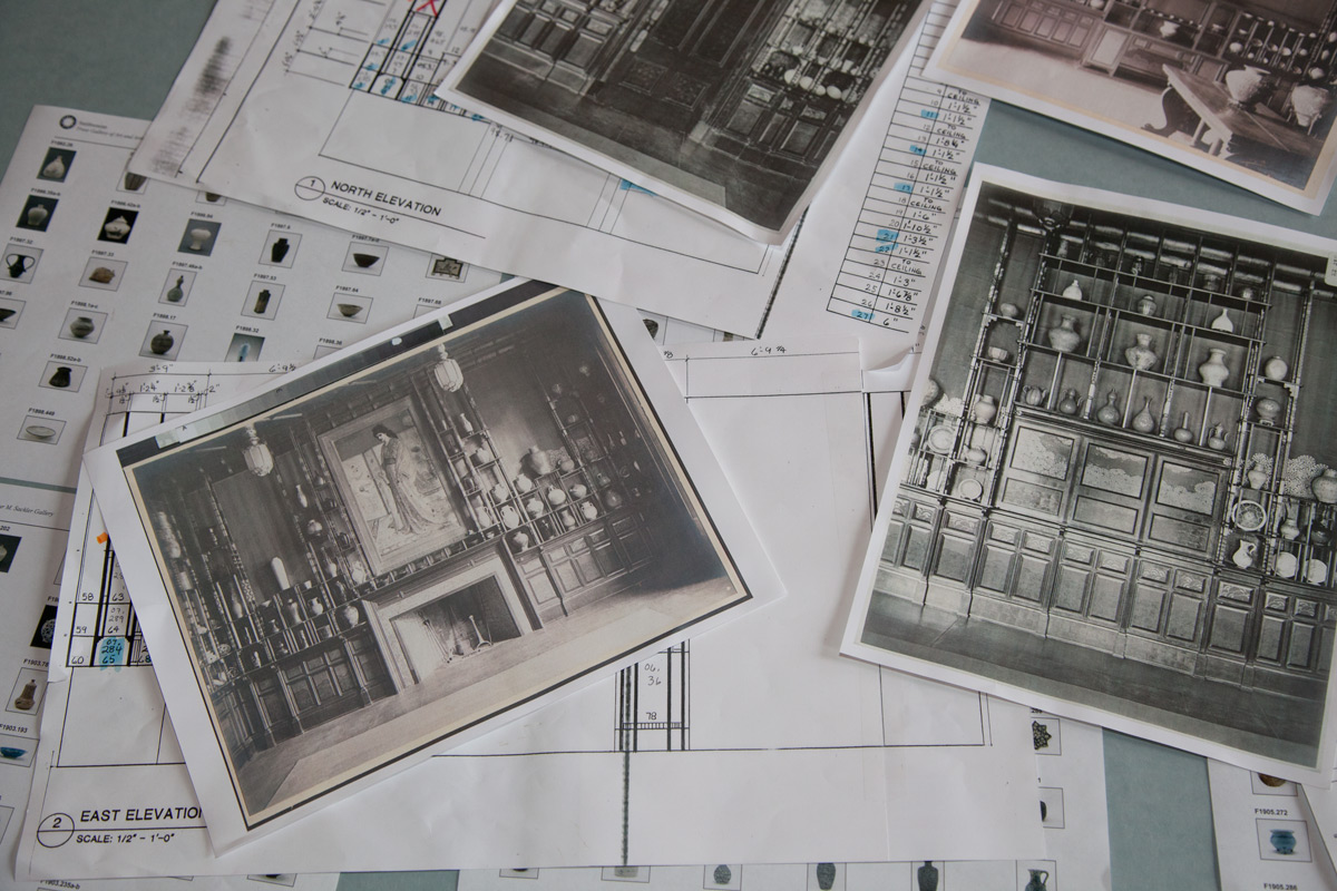 Archival photographs and elevations that guided the reinstallation